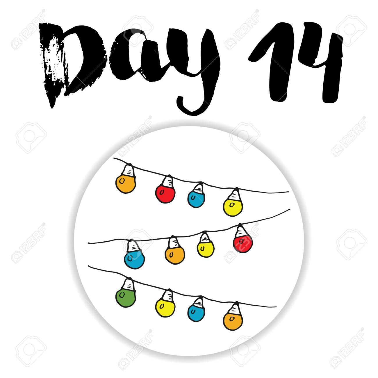 Numeri Per Calendario Avvento.Calendario Dell Avvento Natalizio Elementi E Numeri Disegnati A Mano Progettazione Di Carta Del Calendario Di Vacanze Invernali Illustrazione Di