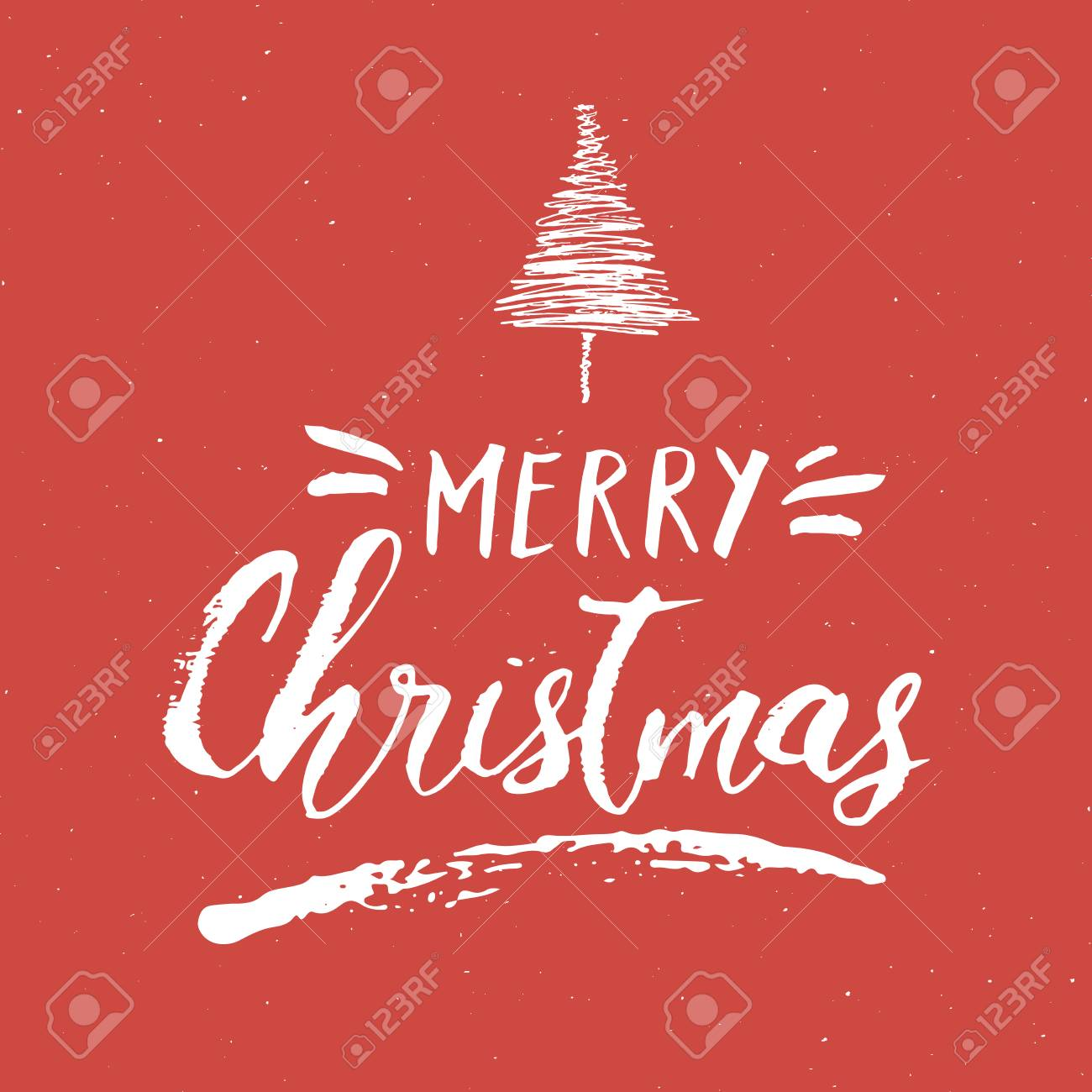 Merry Christmas Calligraphic Lettering Typographic Greetings