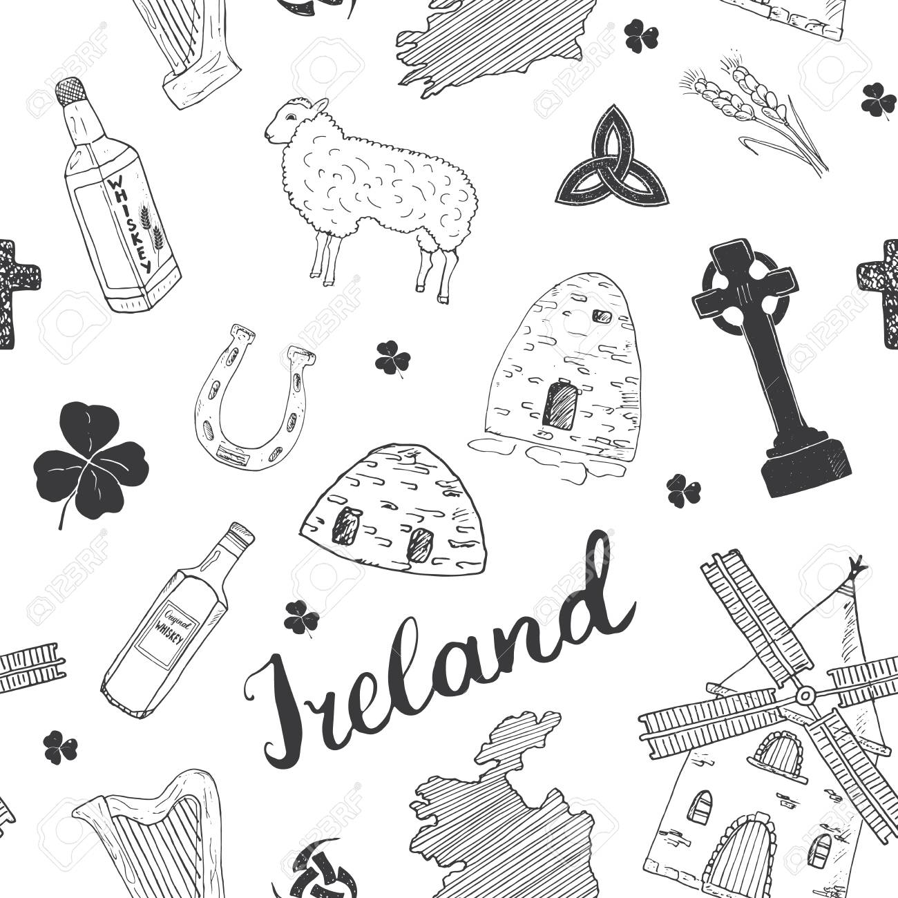 Sketch Map Of Ireland.Ireland Sketch Doodles Seamless Pattern Irish Elements With