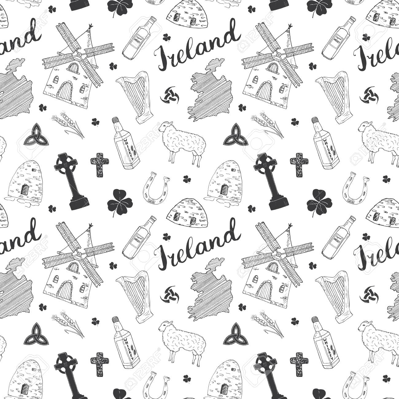 Sketch Map Of Ireland.Ireland Sketch Doodles Seamless Pattern Irish Elements With