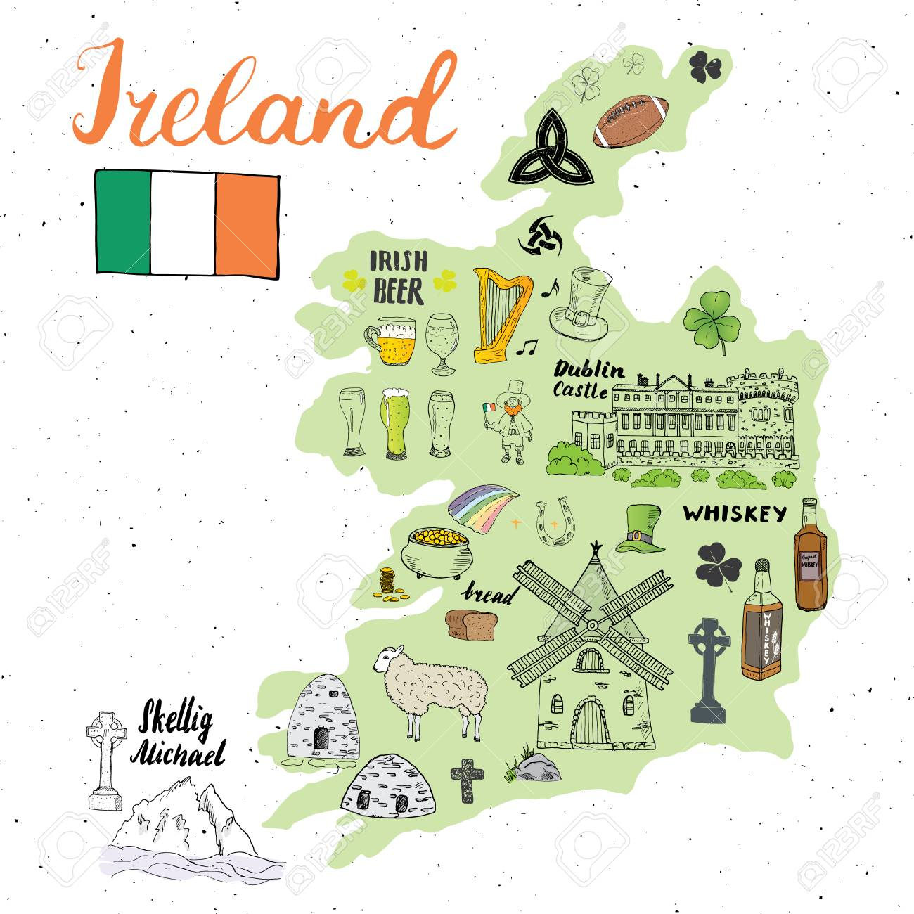 Sketch Map Of Ireland.Ireland Sketch Doodles Hand Drawn Irish Elements Set With Flag