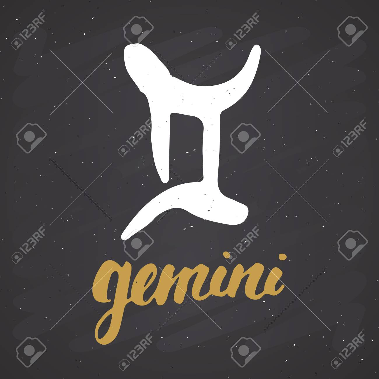 vector zodiac sign gemini and lettering hand drawn horoscope astrology symbol grunge textured design typography print vector illustration on