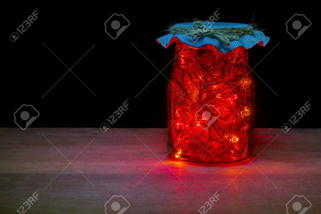 Red LED Light In The Glass Bottle In Darkness On Brown Wood Table ... for Red Led Light Texture  45ifm