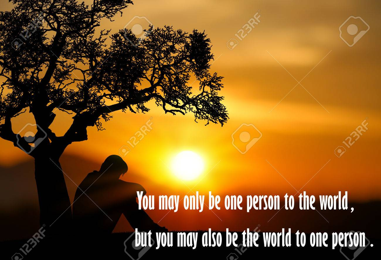 Inspirational Quote On Silhouette Of People Sad At Sunset Background
