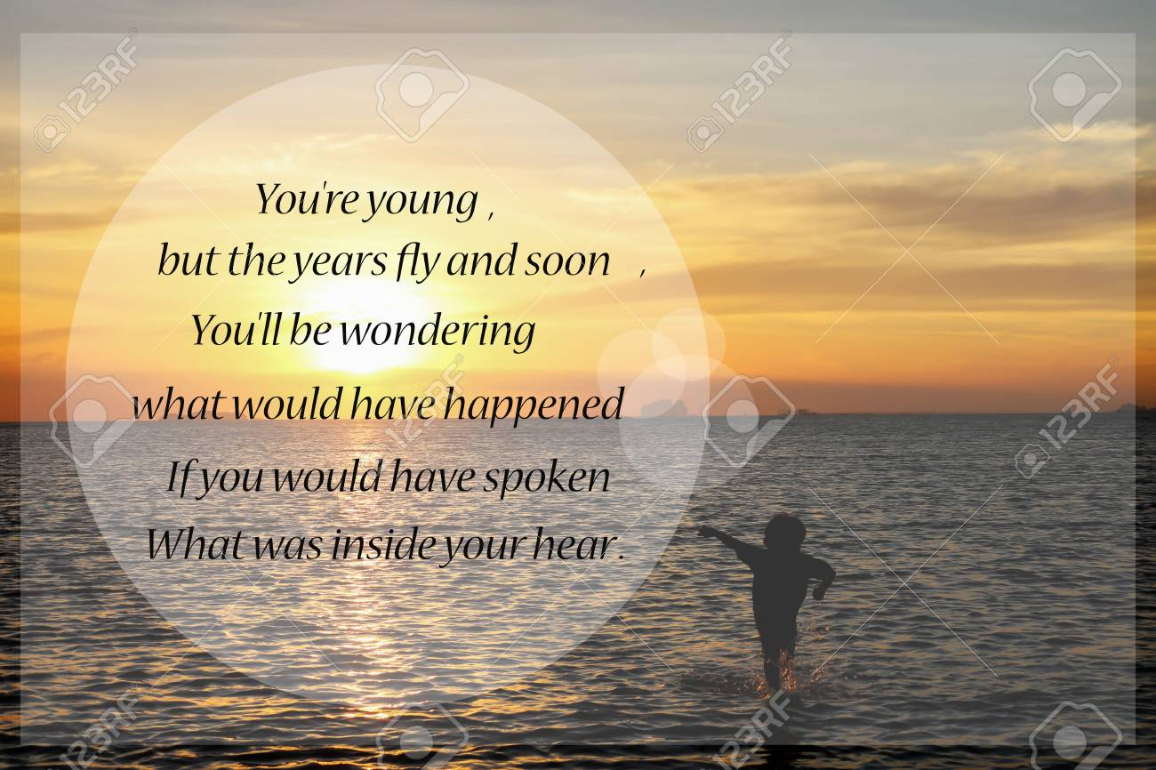 Inspirational Quote On Sunset Blurred Background Stock Photo