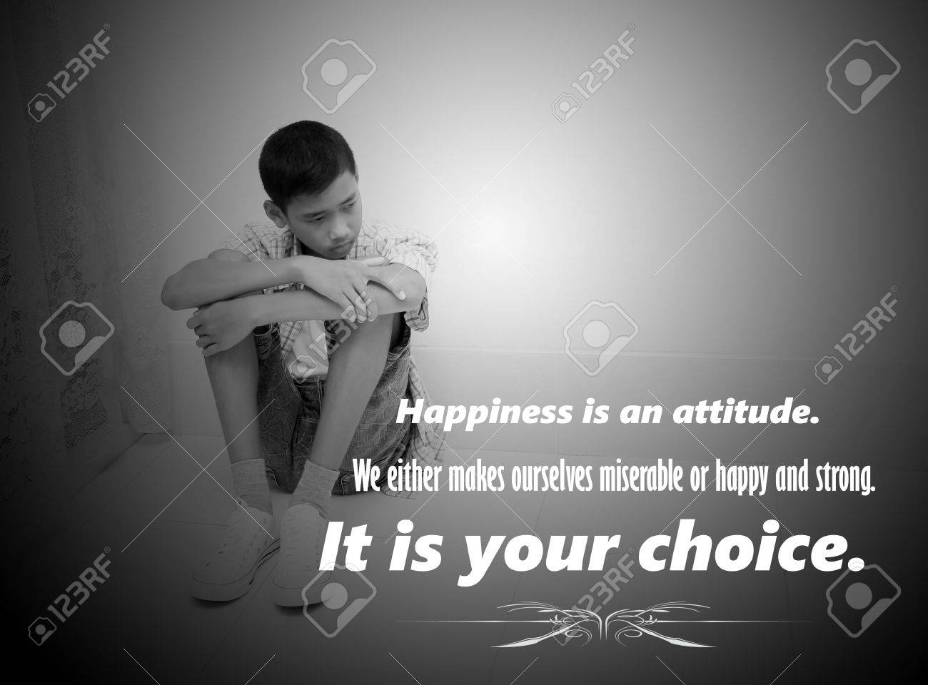 Inspirational quotes for life in boy sad blurred black and white background stock photo