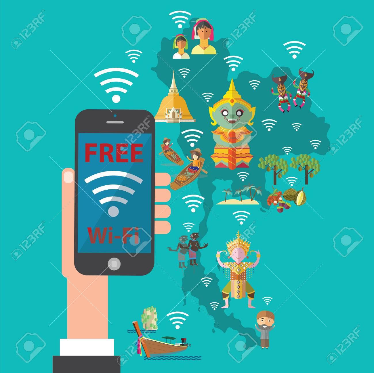 Carte Wifi Thailande.Wifi Gratuit Avec La Thailande Carte Clip Art Libres De Droits