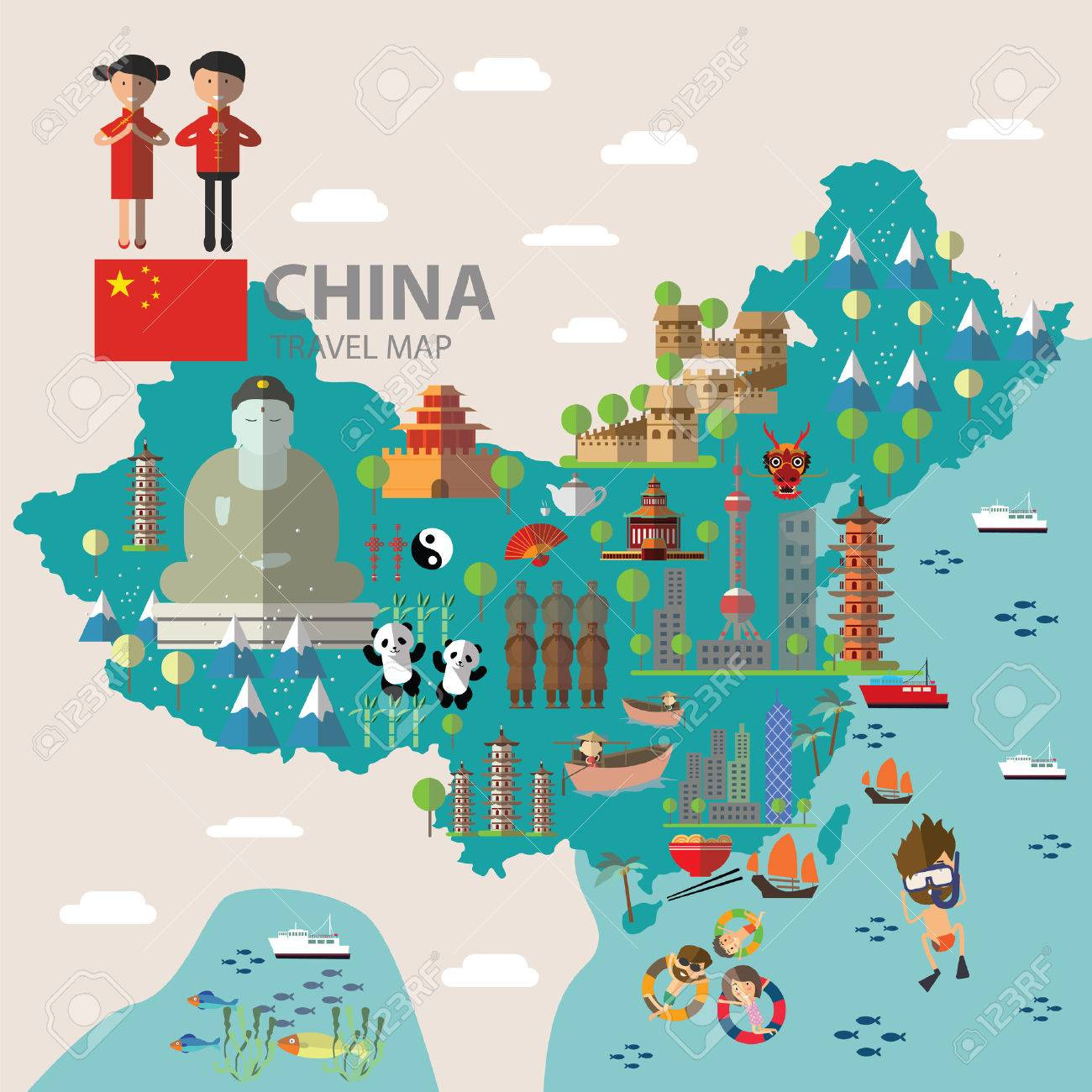 Image Of China Map.China Travel Map Royalty Free Cliparts Vectors And Stock