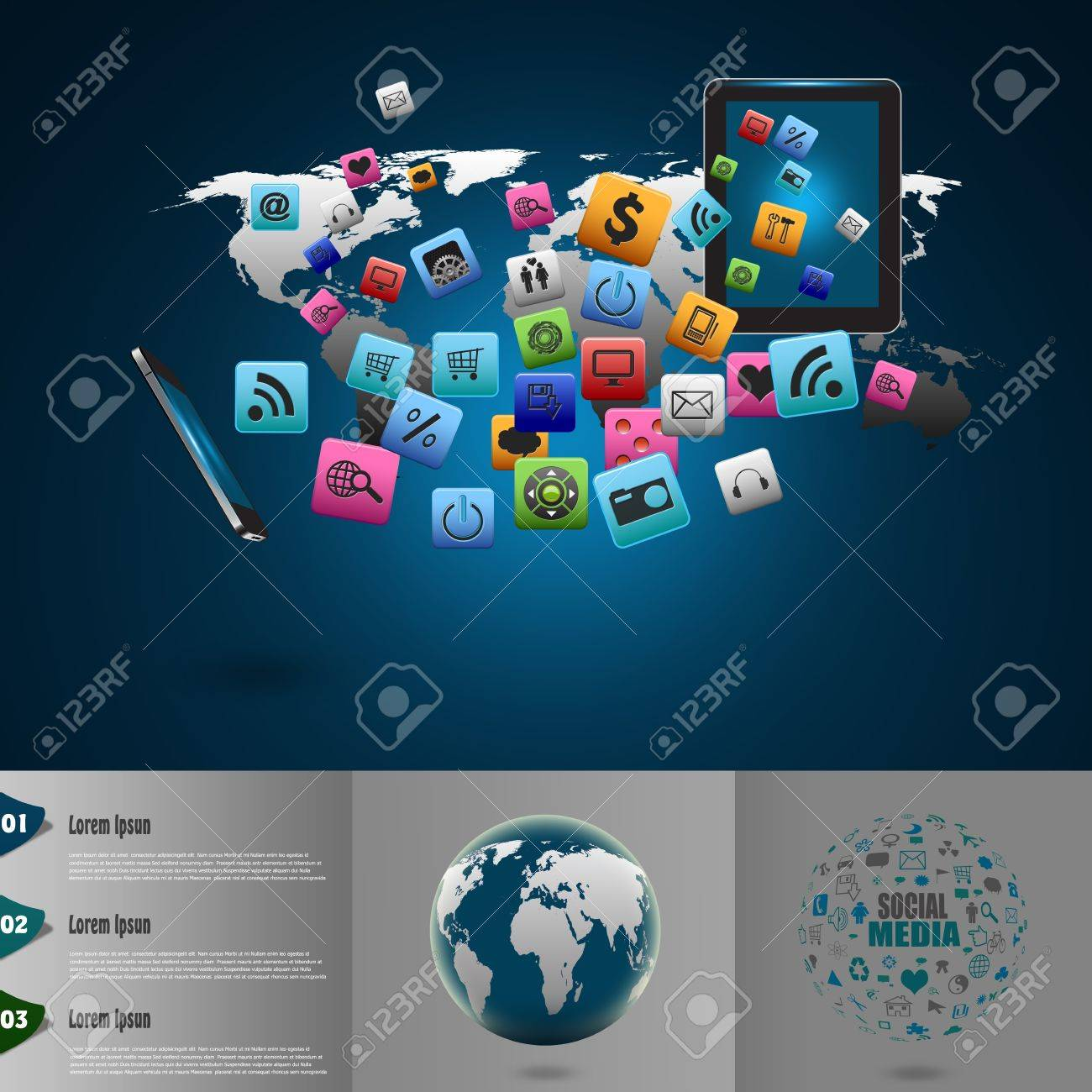 Creative tablet computer with mobile phones cloud of colorful application icon Stock Photo - 21057026