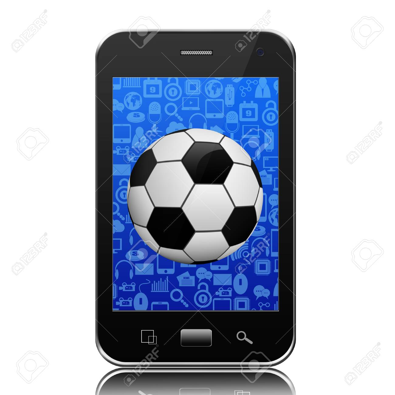 Soccer ball on smartphone,cell phone illustration Stock Illustration - 24766916