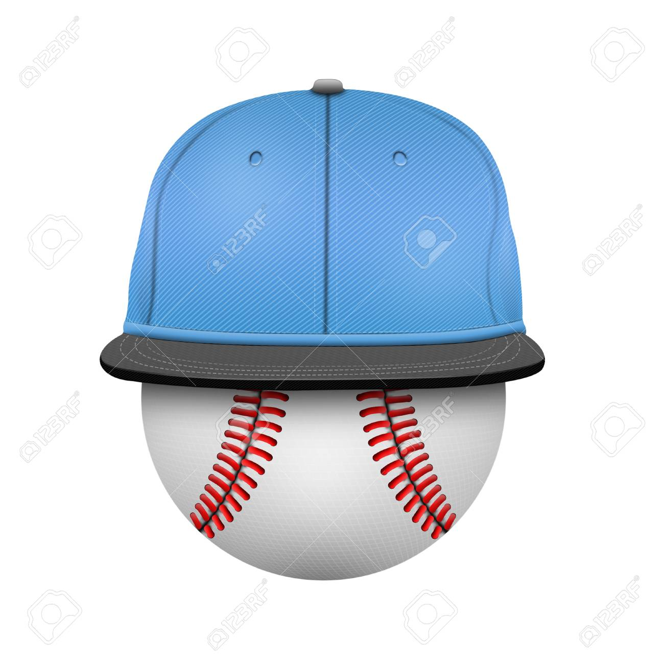 white and blue baseball cap template stock photo picture and