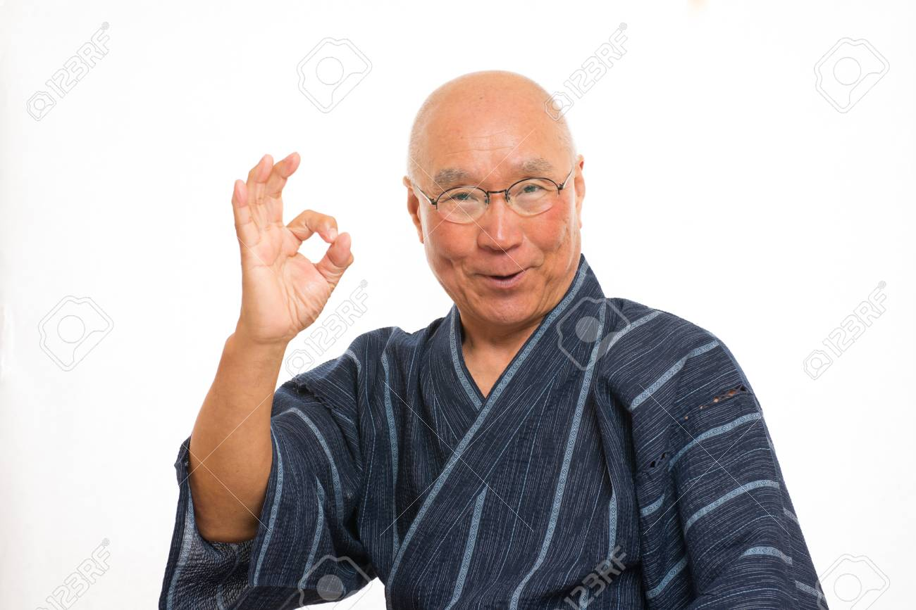 Senior Japanese Give The Okay Sign With A Smile Stock Photo Picture And Royalty Free Image Image 80616691