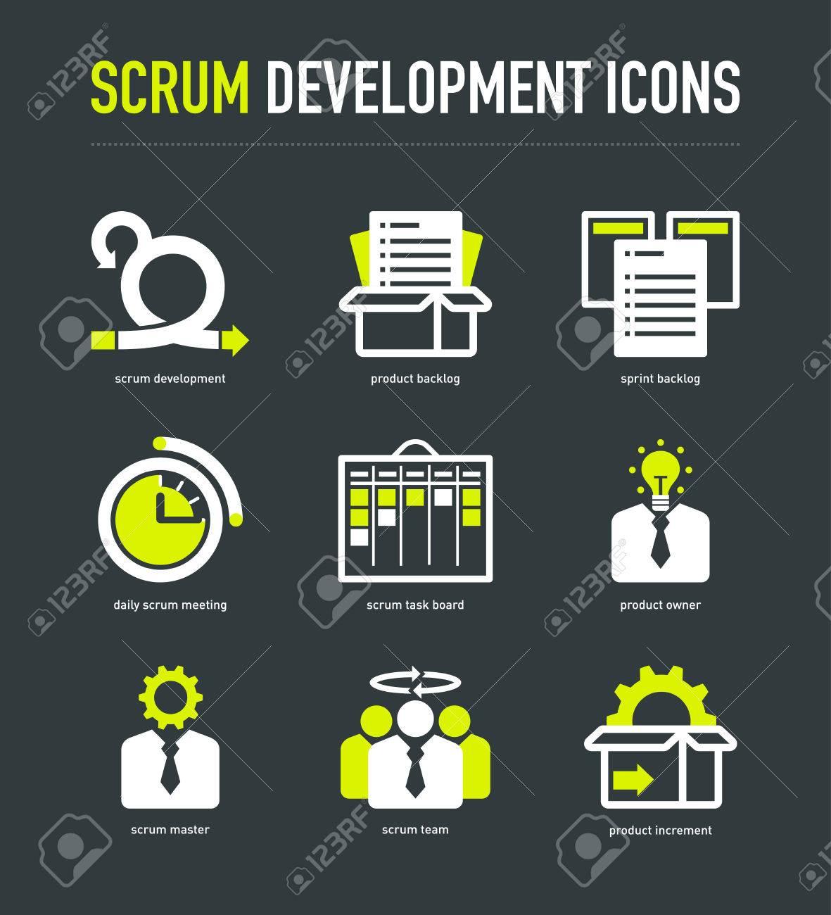 Scrum Development Methodology Icons On Dark Grey Background Royalty ...
