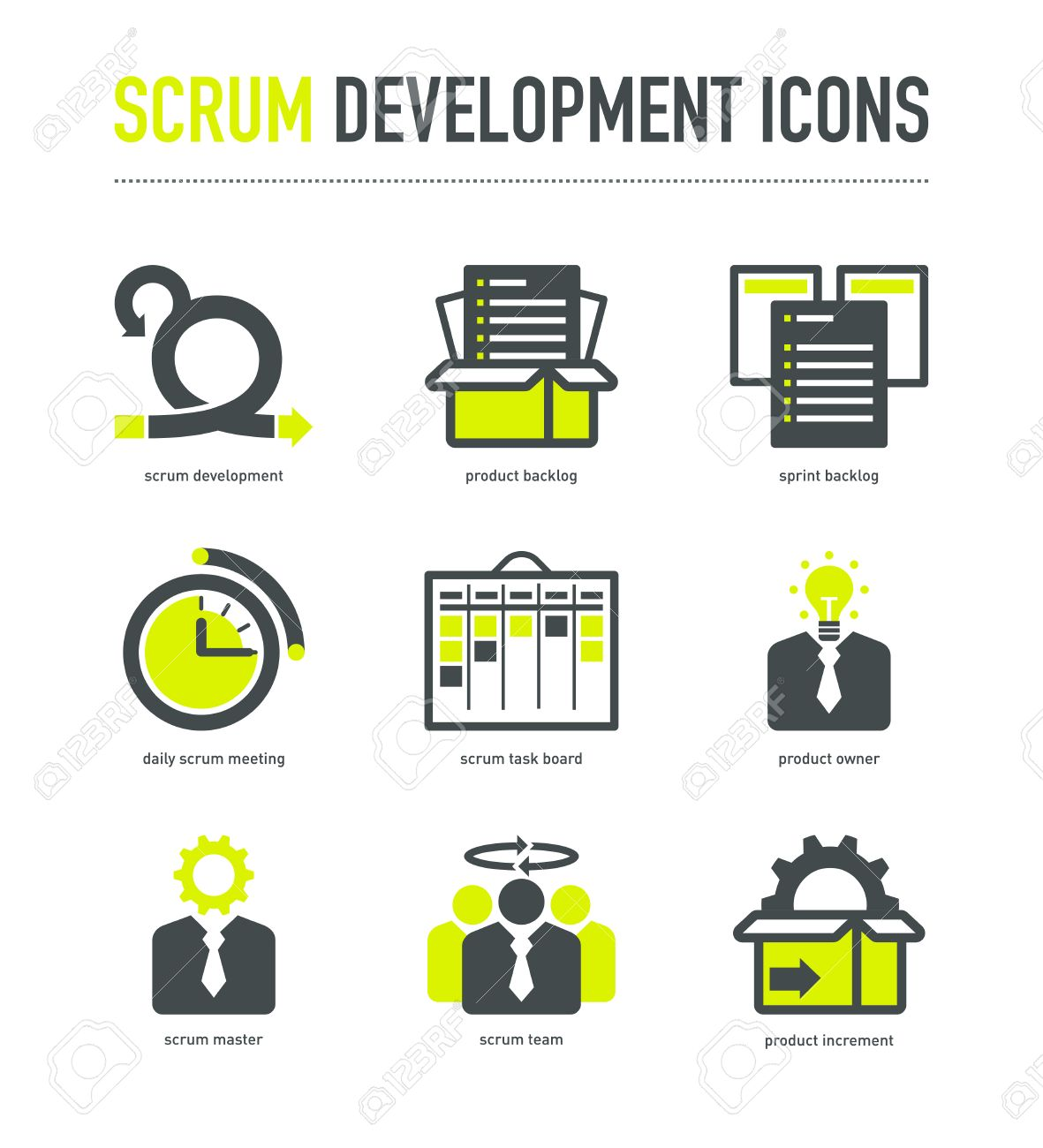 Scrum development methodology icons - 67028011