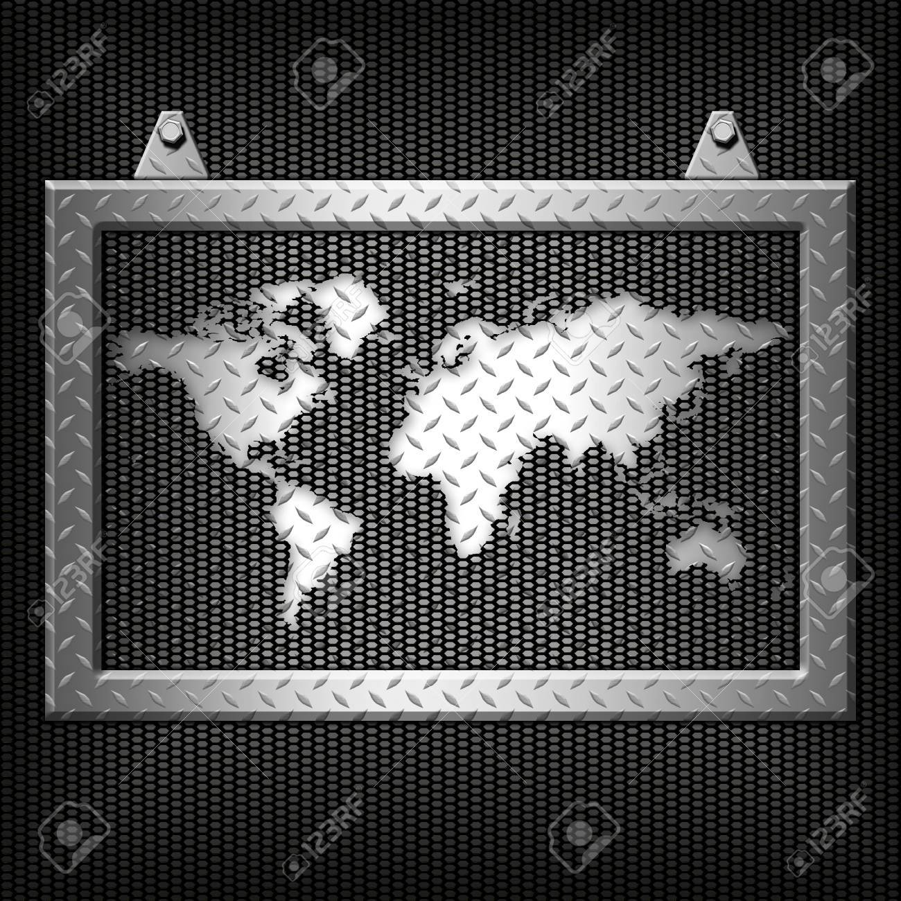 Metal Diamond Plate Frame On A Metal Background Stock Photo, Picture ...