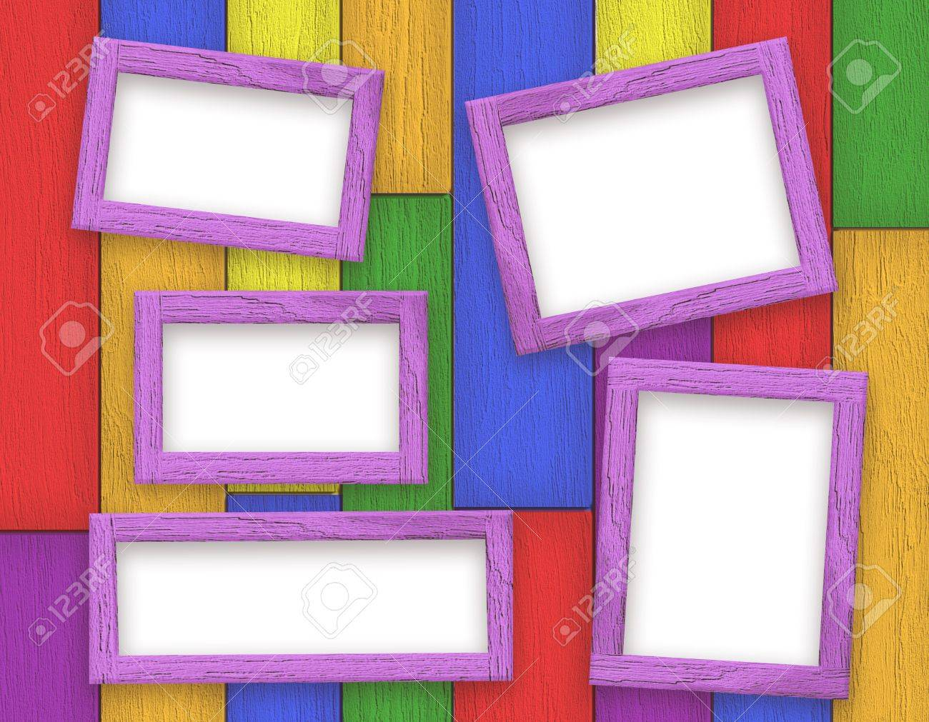 Wooden Picture Frames Color Set On Colorful Wooden Rainbow ...