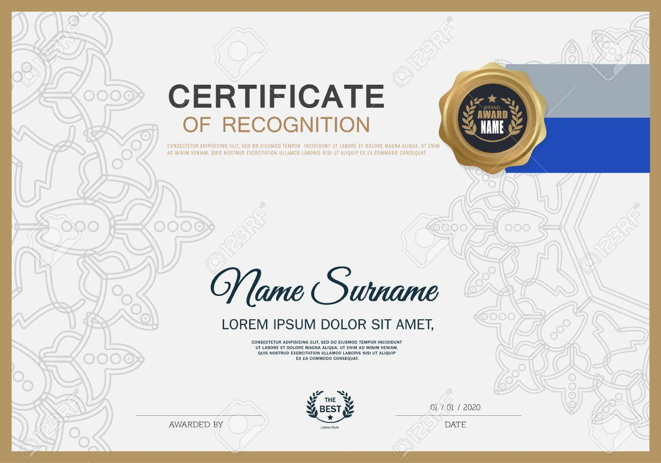 certificate of recognition design  Certificate OF RECOGNITION Frame Design Template Layout Template ...