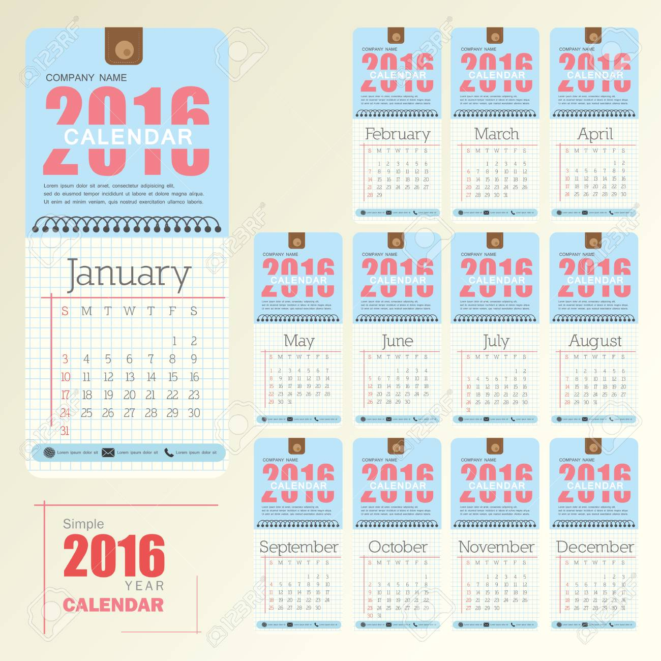 Office Calendar 2016 : Desk calendar vector design template big set of months