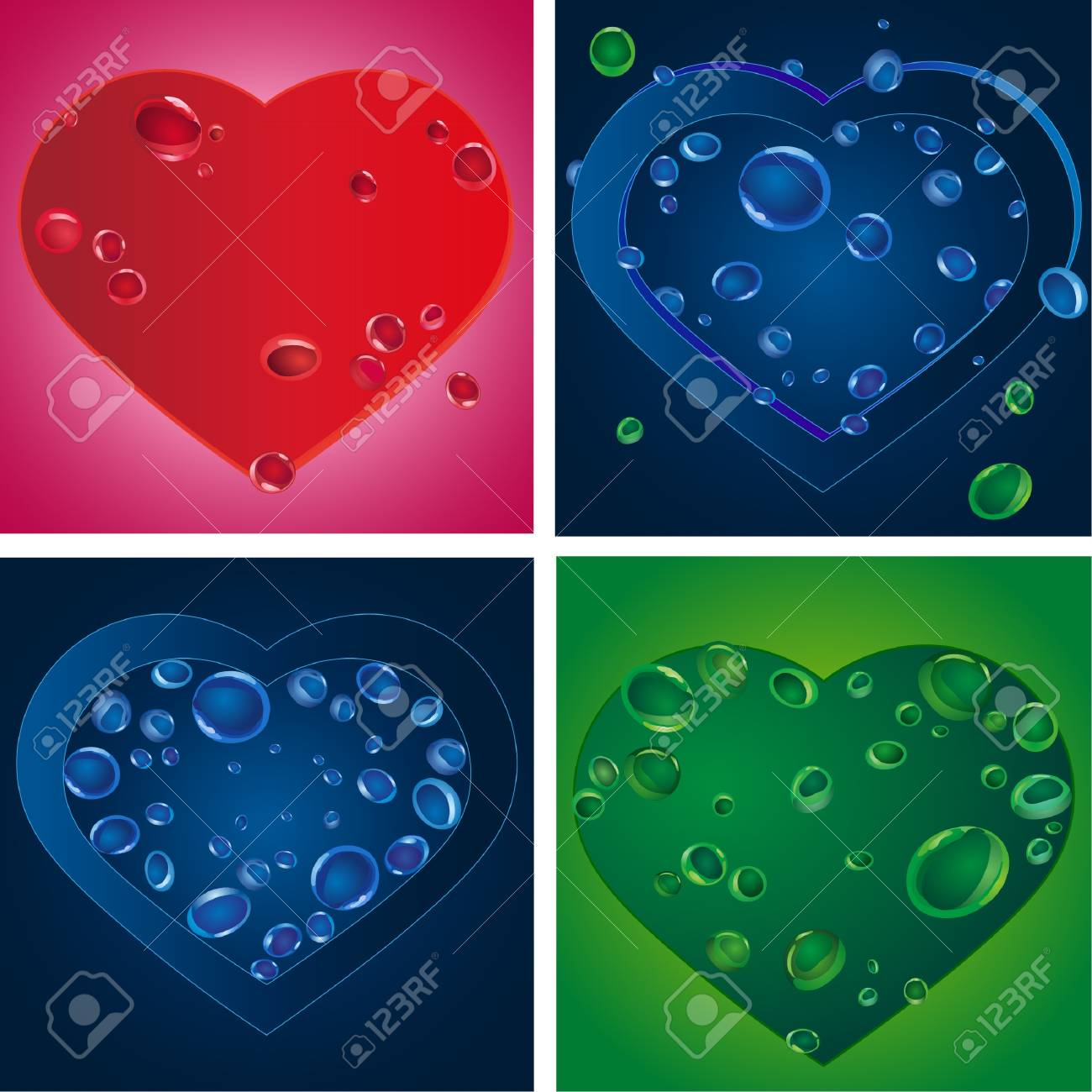 Set of four heart silhouettes with various drops Stock Vector - 11844660