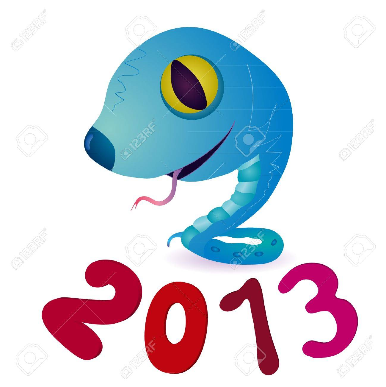 Funny blue little snake and symbols of 2013 New Year Stock Vector - 13247341