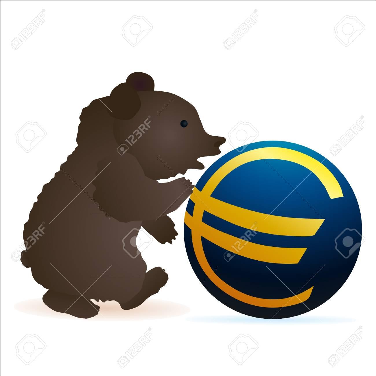 Little bear pushing Euro symbol Stock Vector - 13594686