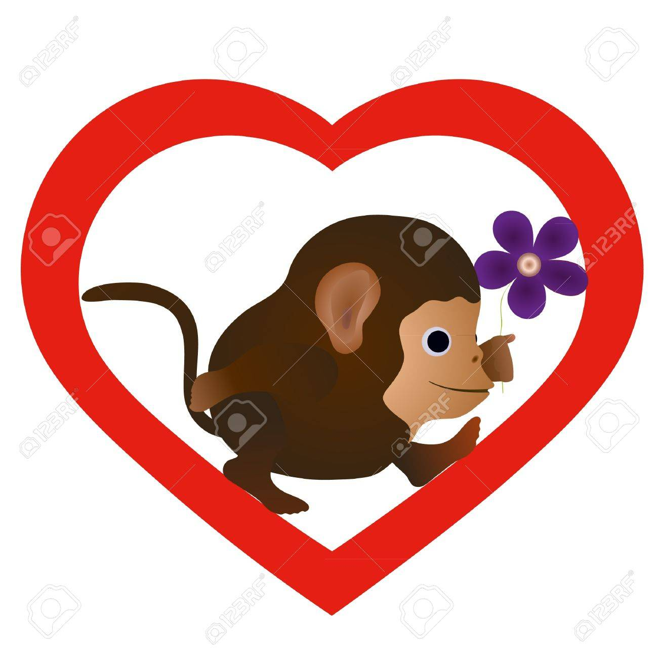 Little funny monkey with flower in the heart silhouette Stock Vector - 13903458