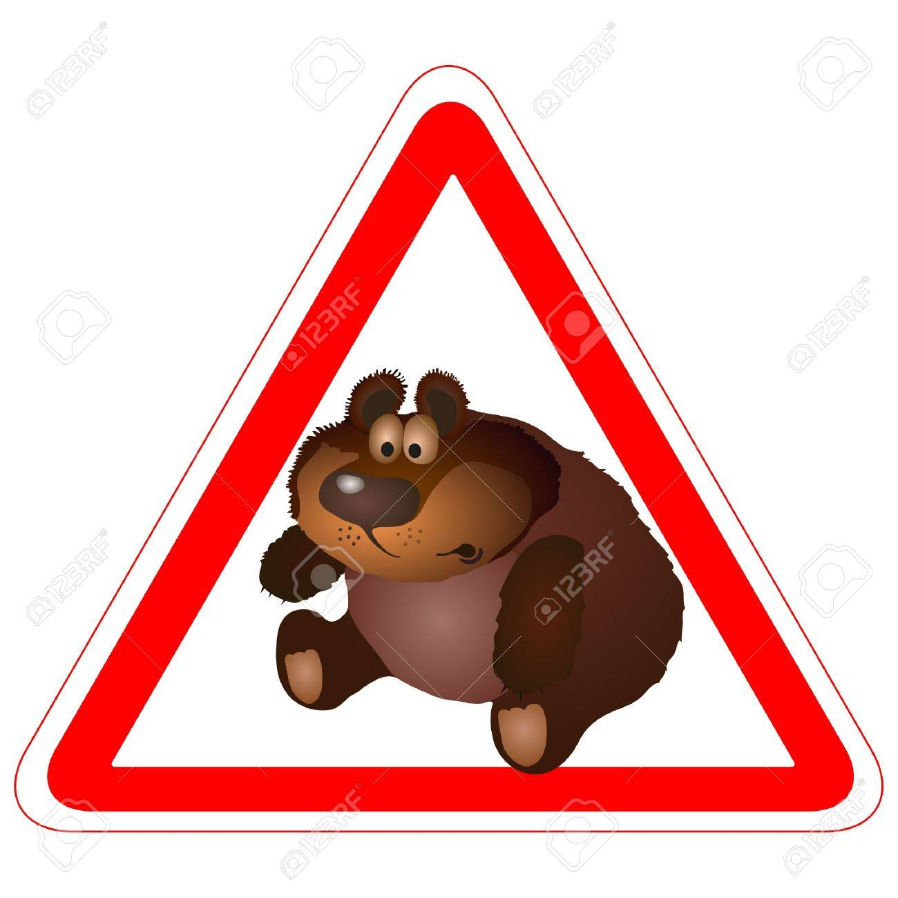 Warning sign with a funny brown Bear Stock Vector - 14077808