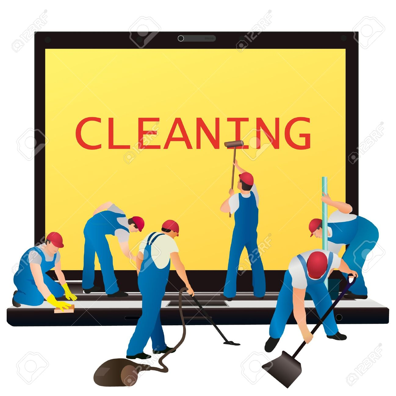 Six cleaners with big notebook Stock Vector - 14782000
