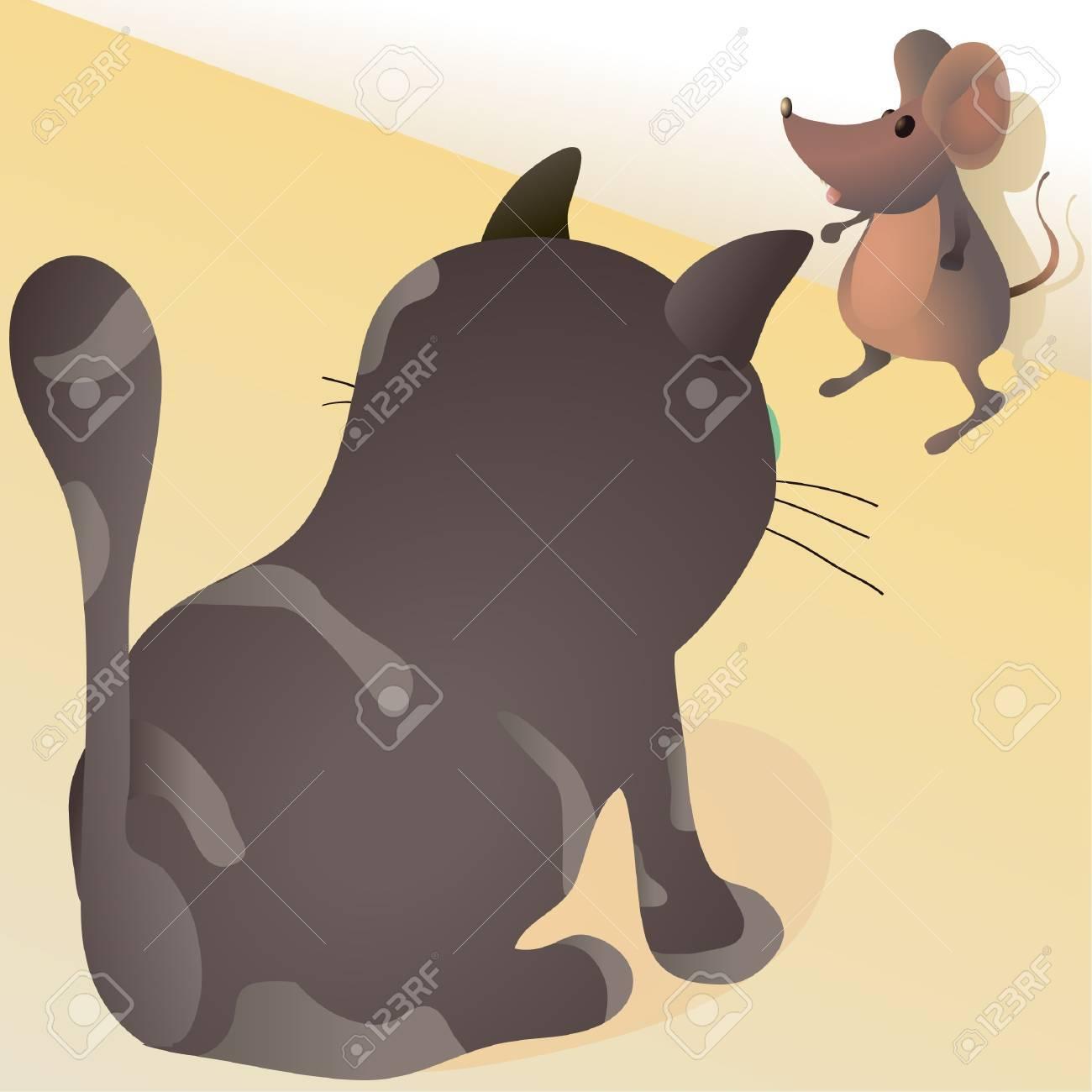 Little mouse against big cat Stock Vector - 15207219