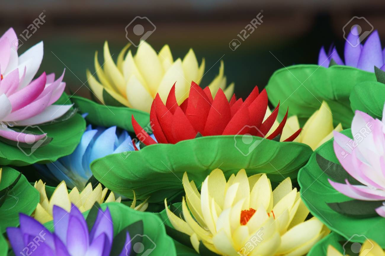Colorful Artificial Lotus Flower Stock Photo Picture And Royalty