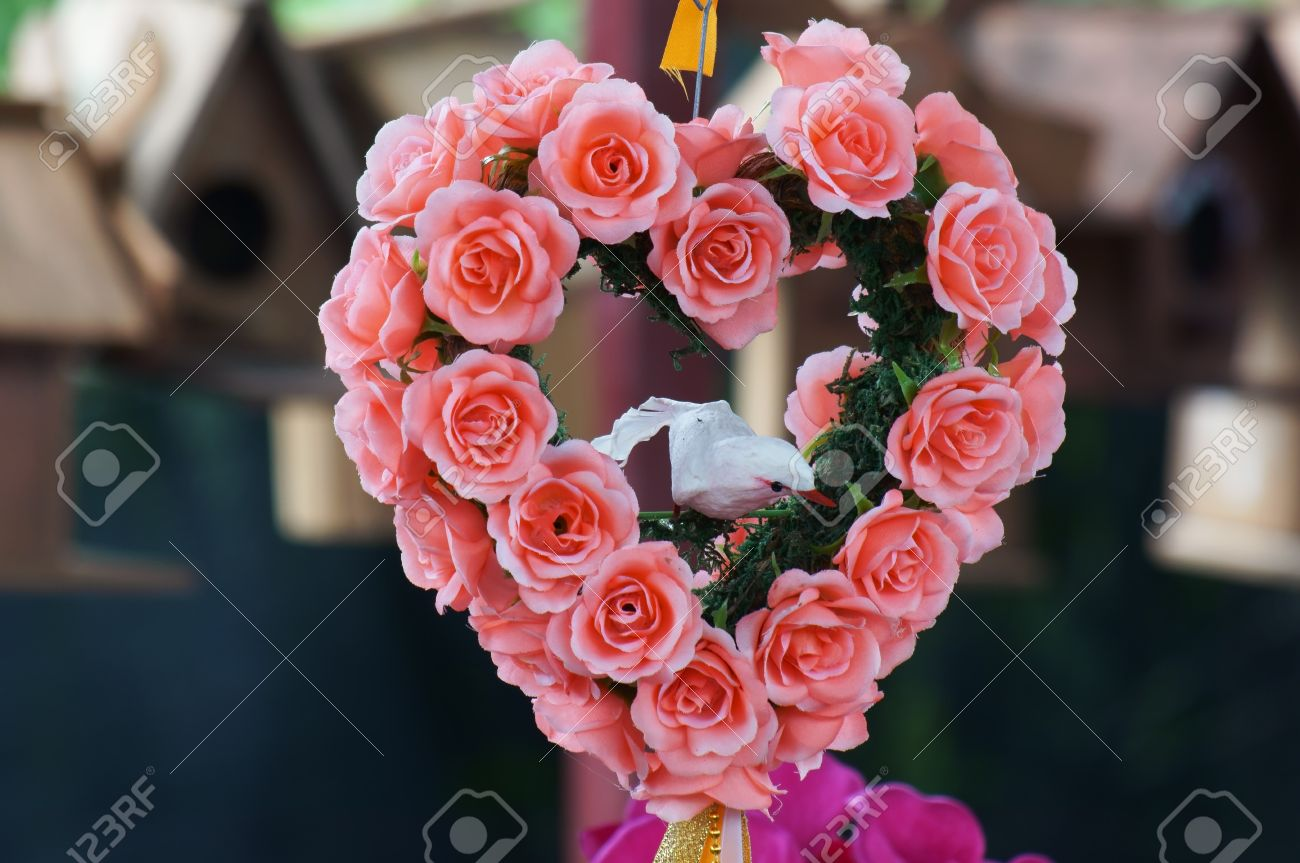 Bouquet Of Artificial Rose Flower Heart Shape Stock Photo Picture