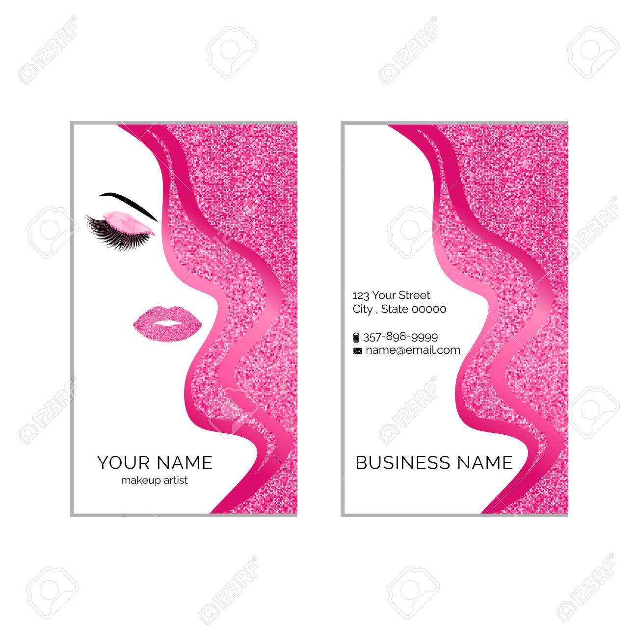 Makeup Artist Business Card Template Royalty Free Cliparts Vectors