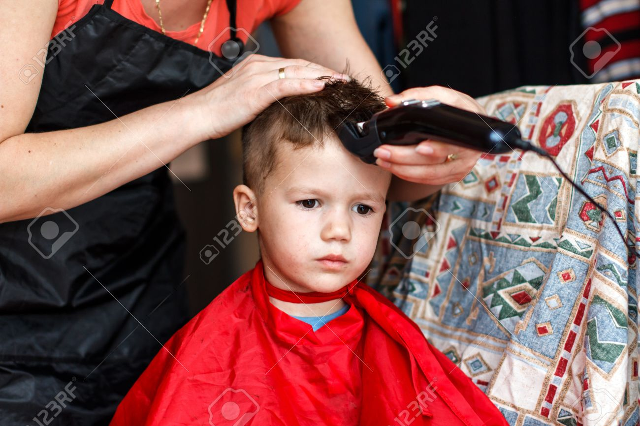 Little 3 Year Old Boy Haircut Stock Photo Picture And Royalty Free