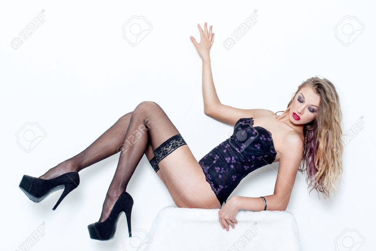 Long legs high heels and stockings