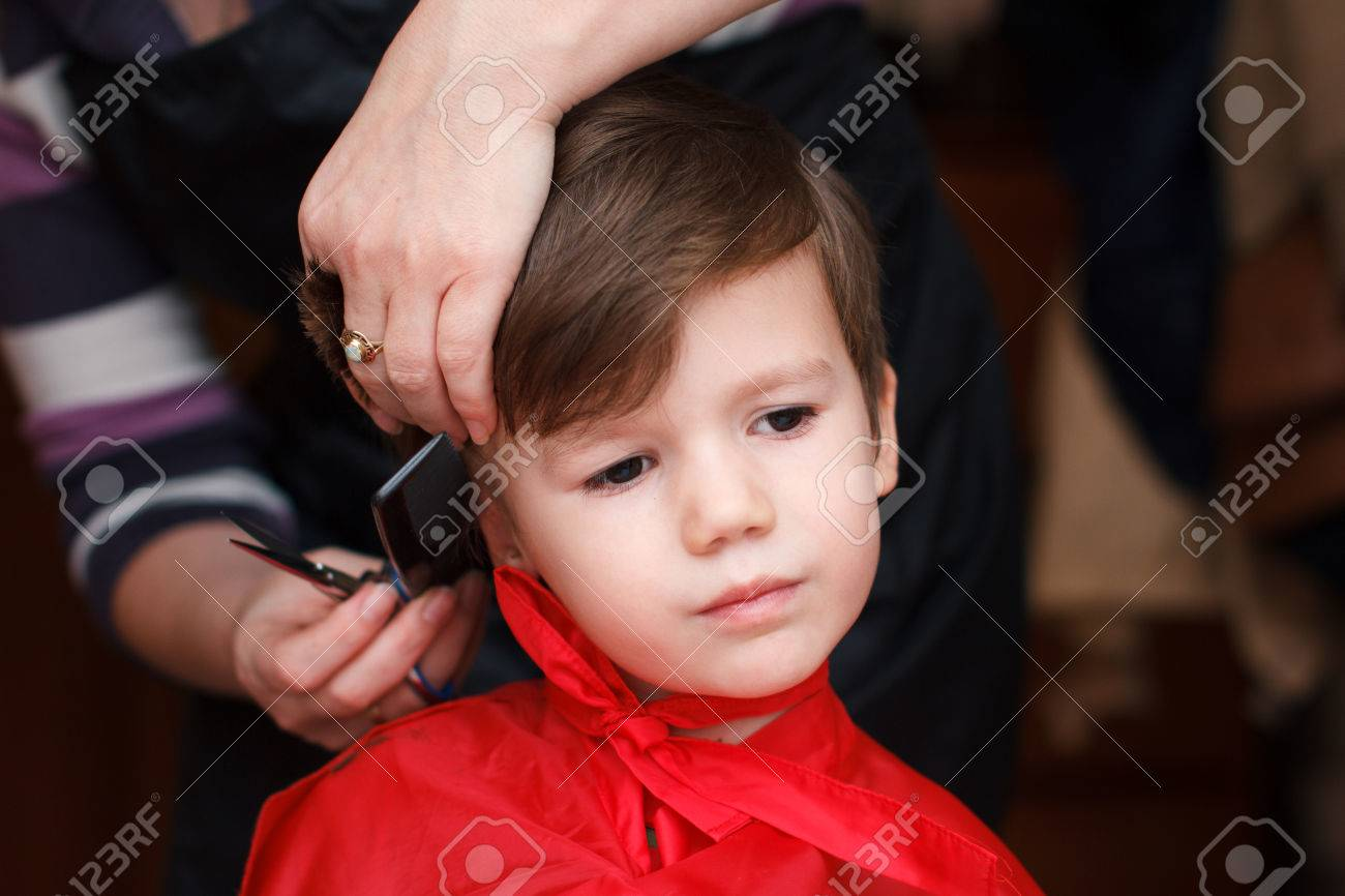 Cute Little Boy Haircut Stock Photo Picture And Royalty Free Image