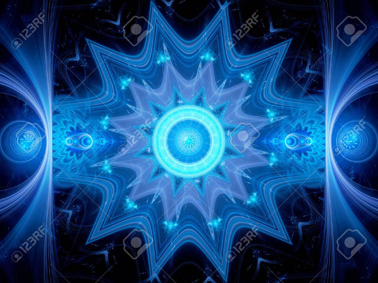 magical blue glowing mandala in space computer generated abstract