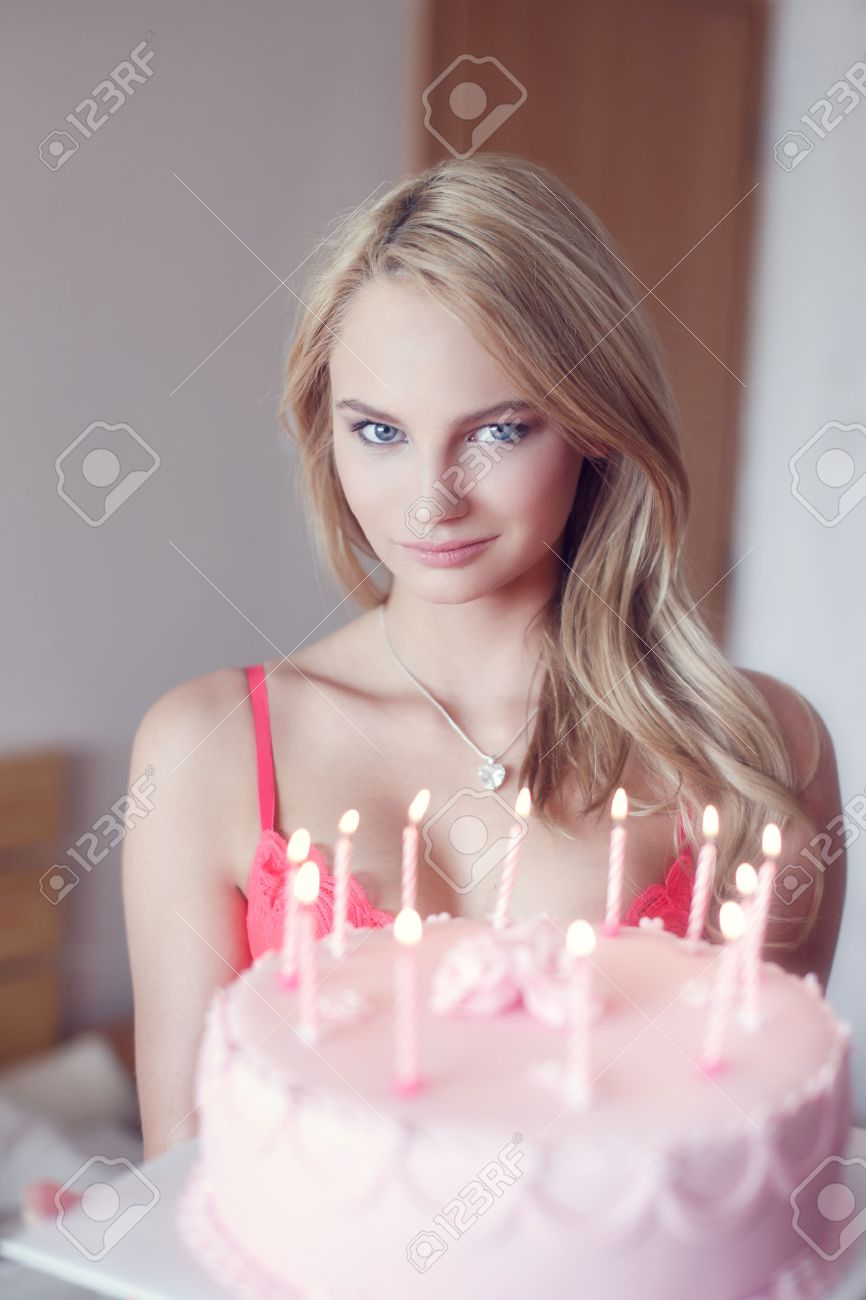 Stupendous Sexy Blonde Woman Holding Birthday Cake Indoor Stock Photo Birthday Cards Printable Inklcafe Filternl