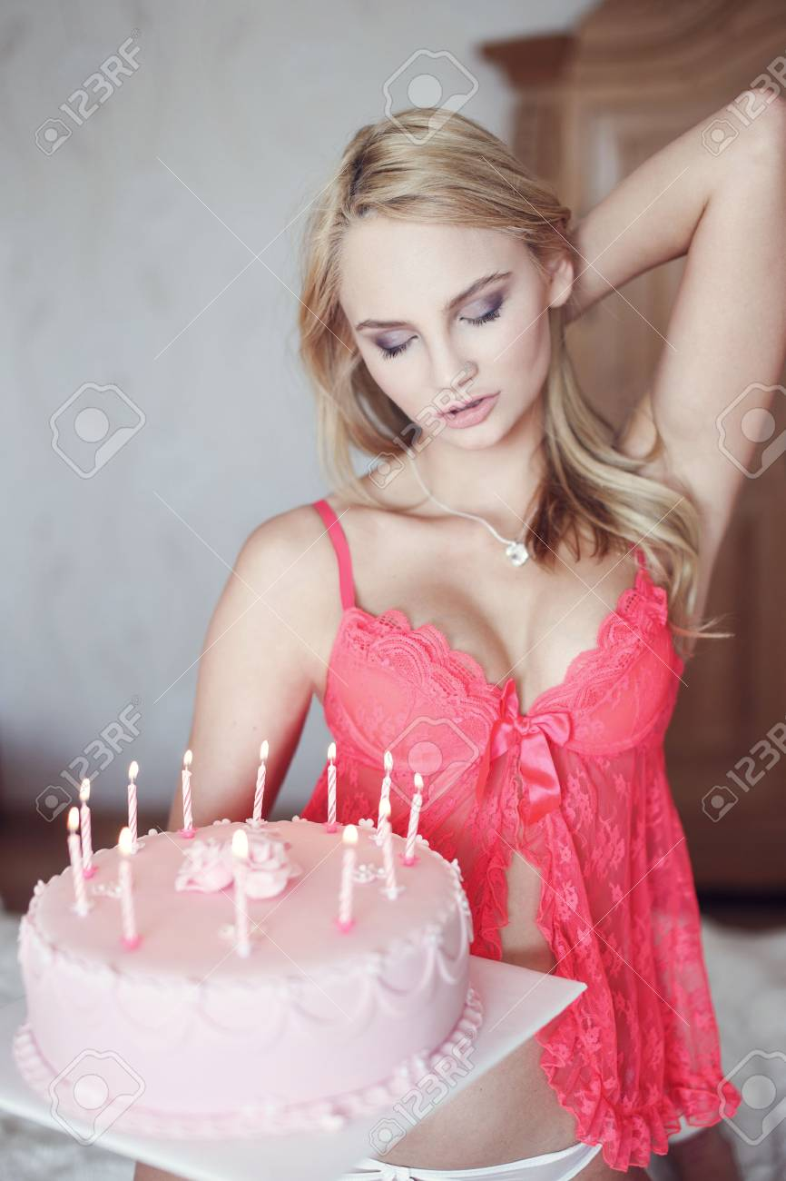 Sensational Sexy Blonde Woman In Pink Bra Kneeling With Birthday Cake On Funny Birthday Cards Online Alyptdamsfinfo