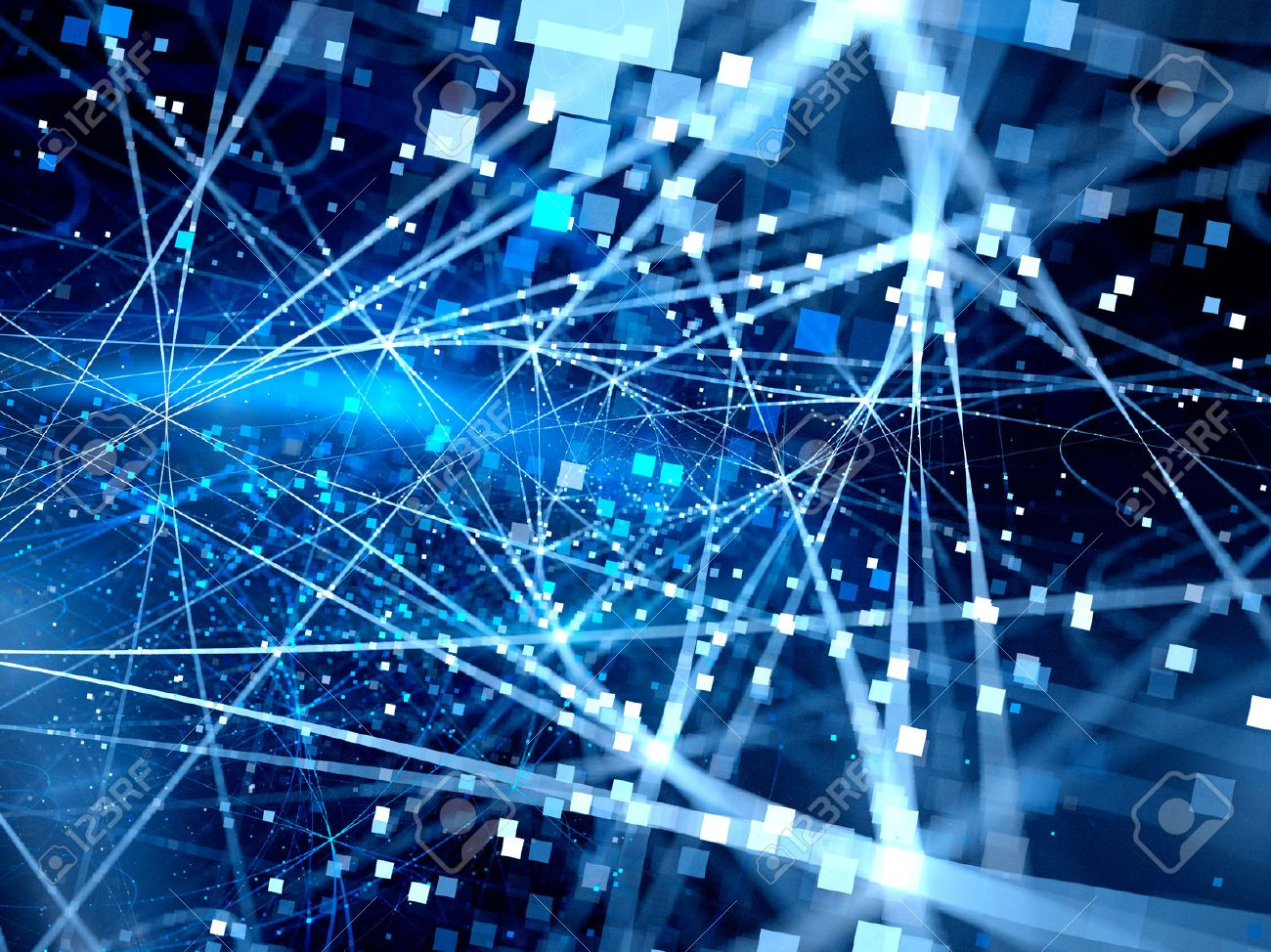 Blue glowing connection lines with particles, new technology, big data, computer generated abstract background - 50417286