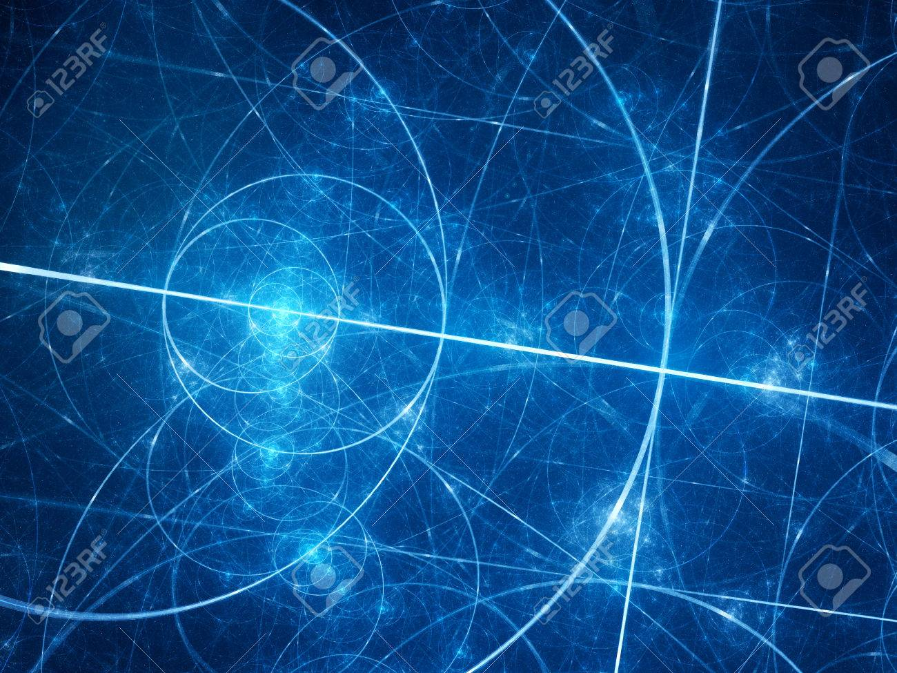 Blue glowing fibonacci circles in space, golden ratio, mathematics, computer generated abstract background - 55303624