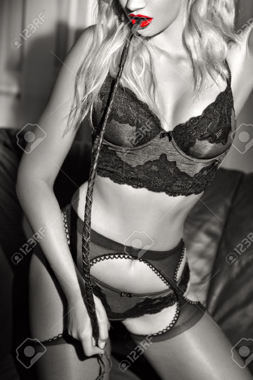Sexy Passionate Blonde Mistress With Whip At Night Closeup Black And White Selective Coloring
