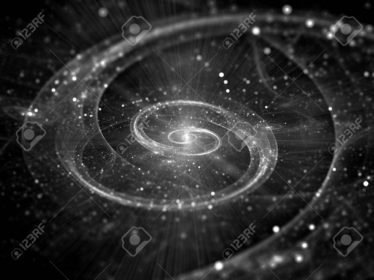 Spiral Galaxy In Deep Space Intensity Map Black And White, Computer on