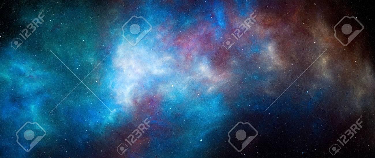 Nébuleuse Lumineuse Colorée Dans L Espace Profond Fond Abstrait Généré Par Ordinateur écran Panoramique 5k Rendu 3d