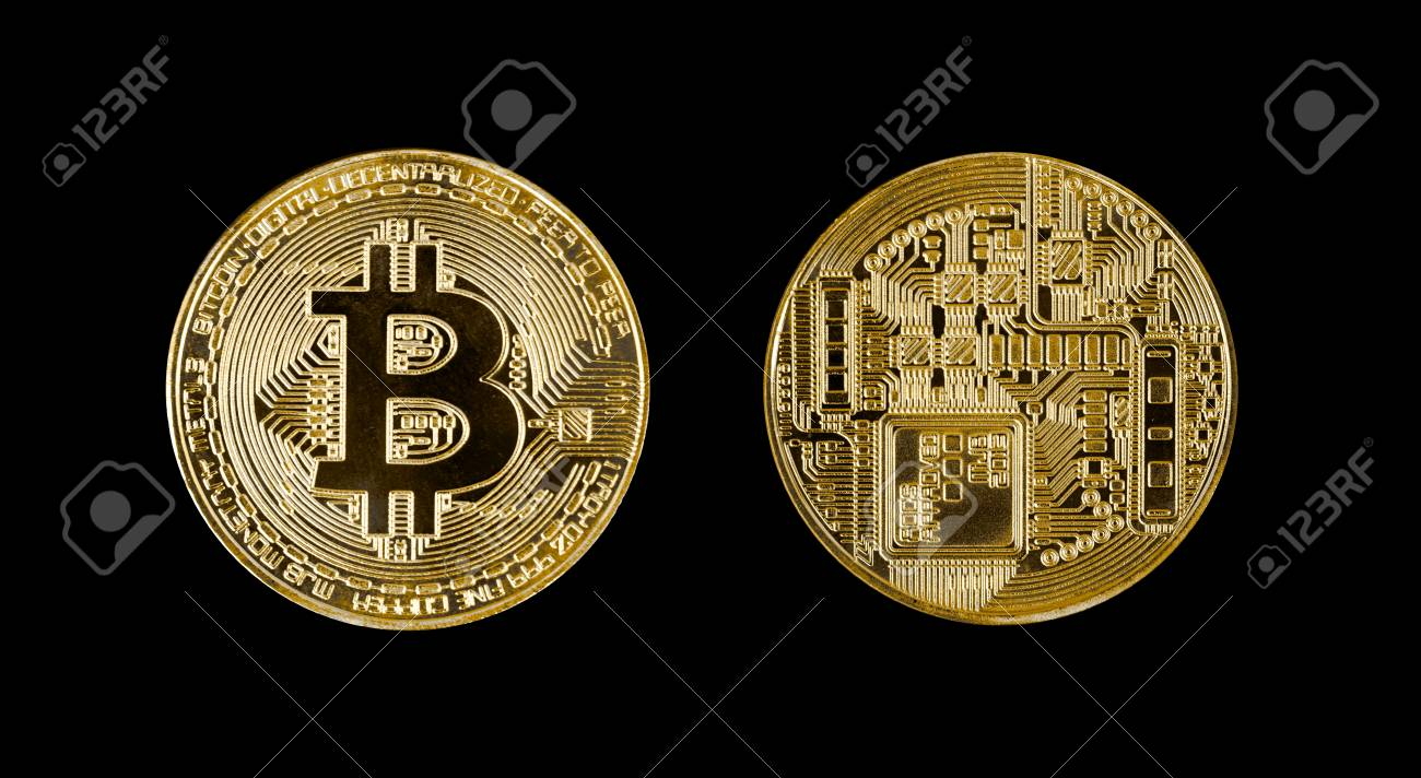 Gold bitcoin coin head and tail isolated on black background