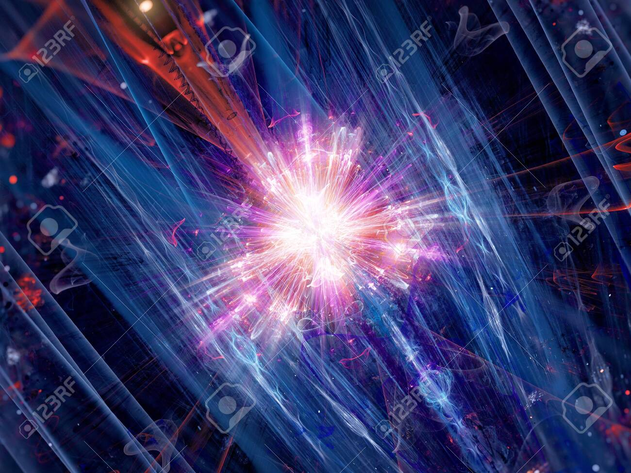 Colorful fission of particle in collider, computer generated abstract background, 3D rendering - 153135652