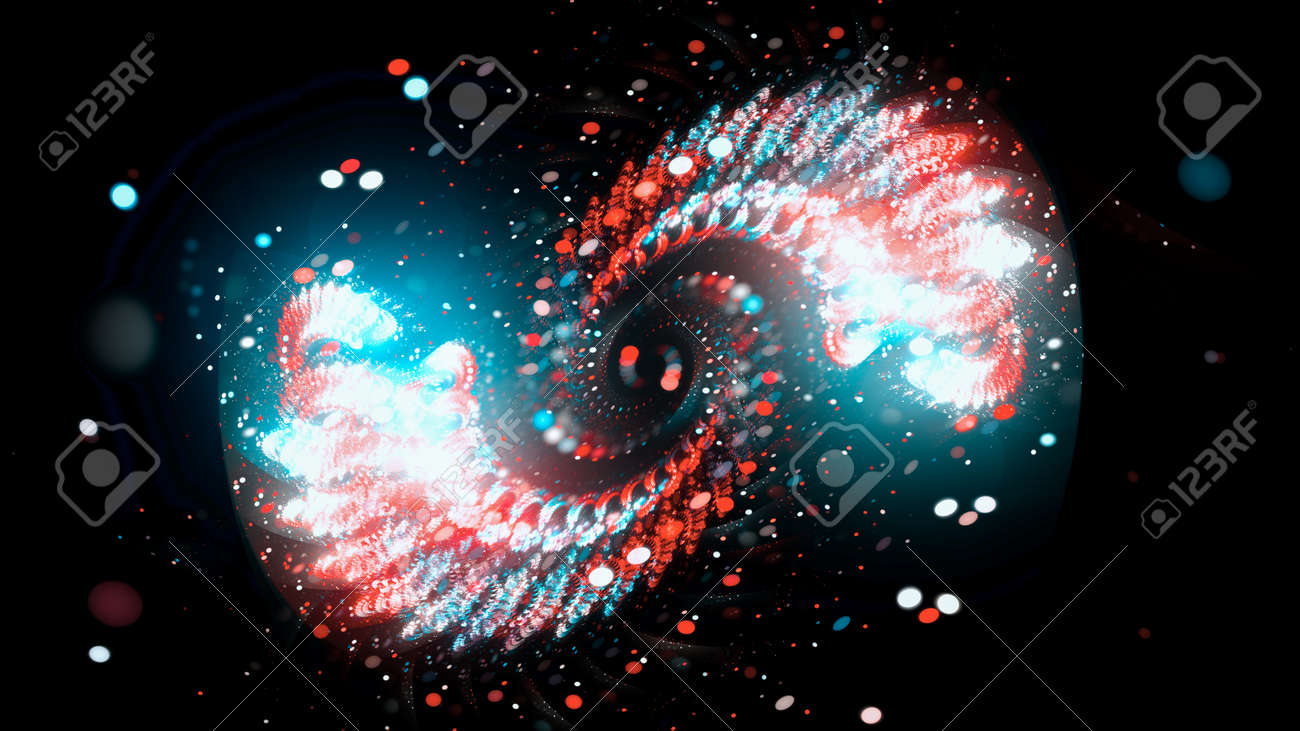 Colorful glowing spiral in space with particles, computer generated abstract background, 3D rendering - 154728008