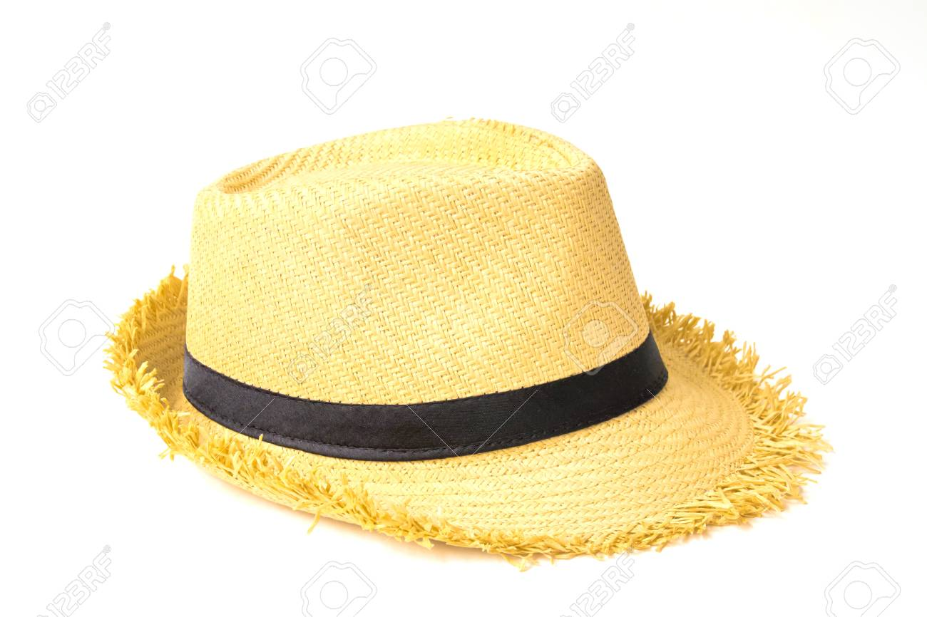 Antique straw hat on white background Stock Photo - 19129002 c56f64c9090