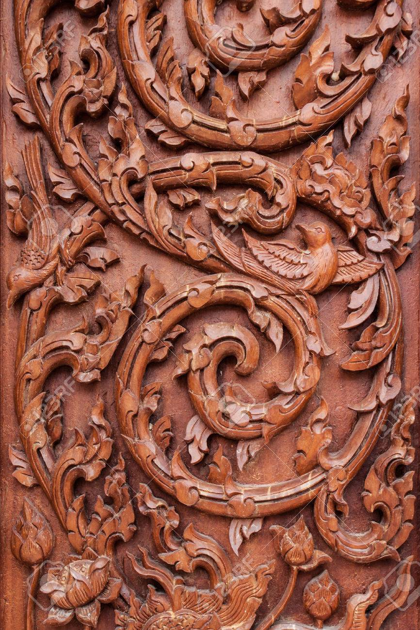 Wood carving designs of wooden doors from thailand stock photo