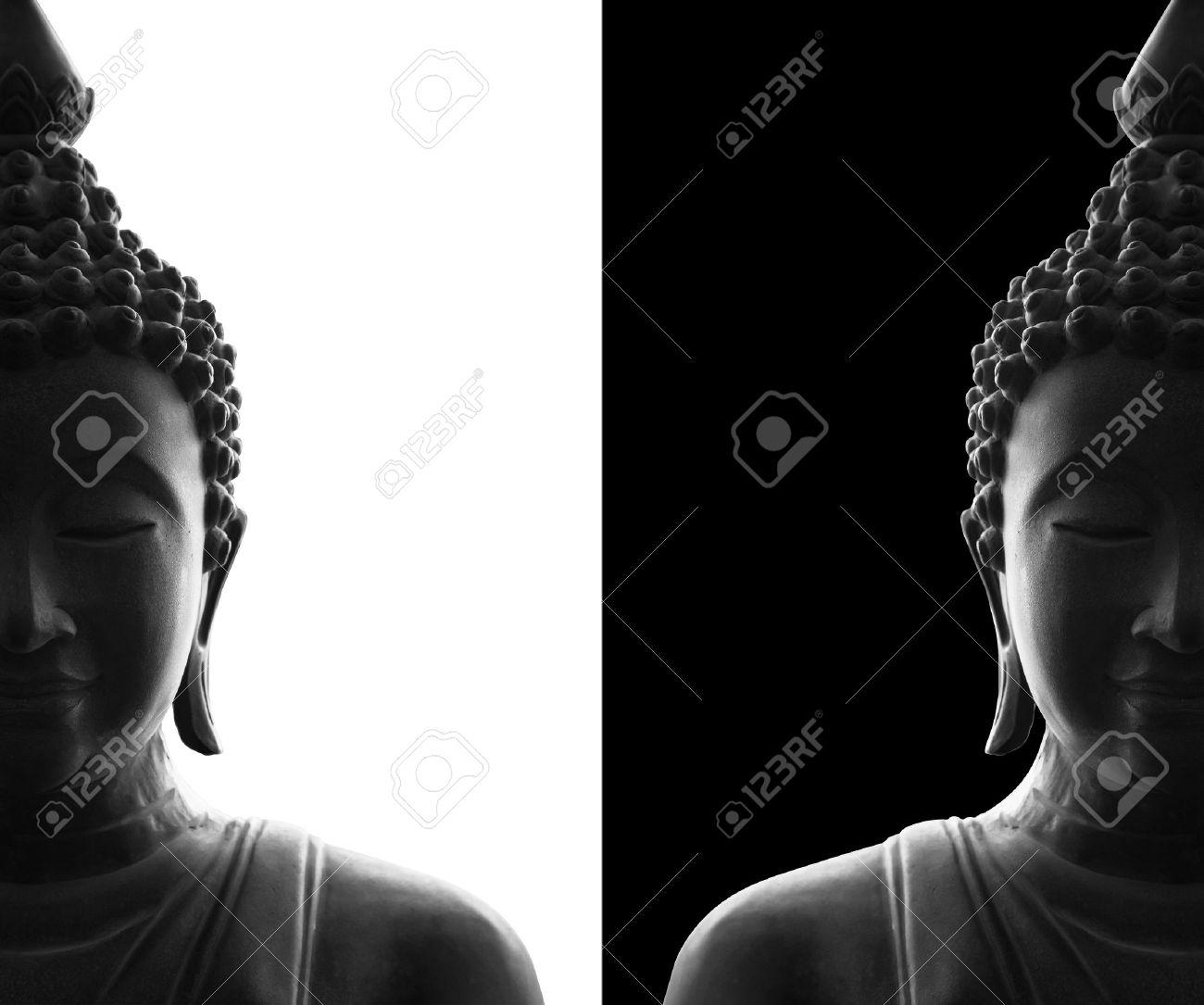 Head of buddha on white and black background stock photo 40459995