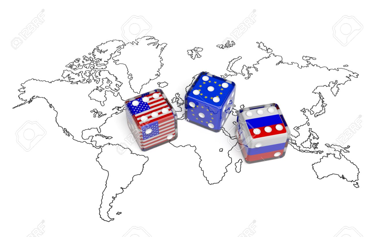 Dices with flags of USA, Russia and European Union on the world..